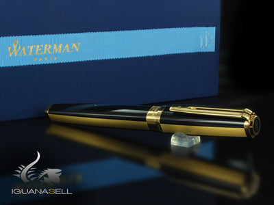 Roller Waterman Exception, Laca Negra, Adornos en Oro, S0636910