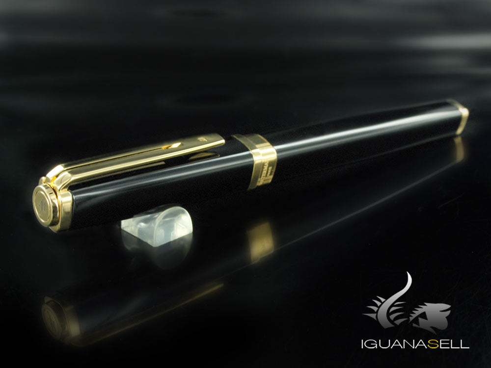Pluma Estilográfica Waterman Exception Slim - Negra y Oro S0636940