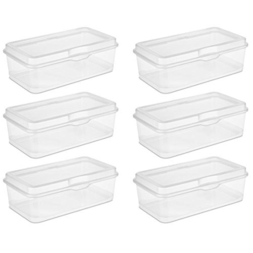 6 Clear Storage Boxes