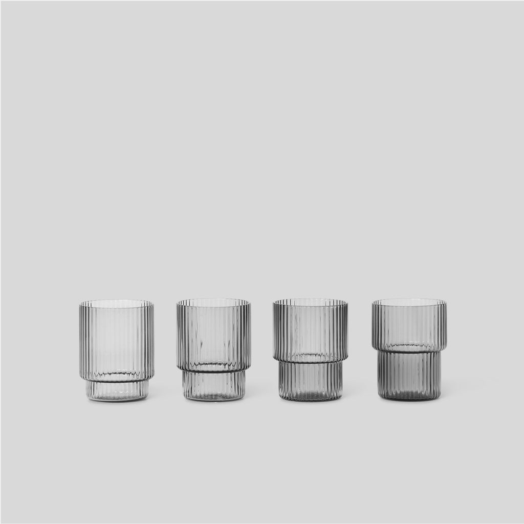 Ferm Living Smoked Grey Ripple Glasses