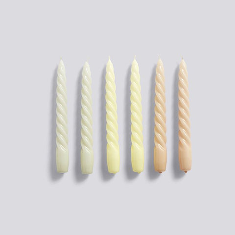 HAY Twisted Candles Set of 6 - Grey Beige/Citrus/ Peach