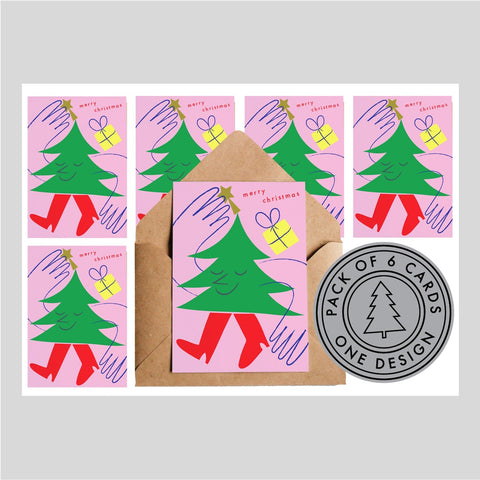 Lottie Hall Pack of Six Christmas Cards - Christmas Tree