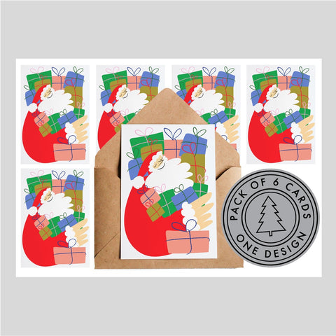 Lottie Hall Pack of Six Christmas Cards - Father Christmas