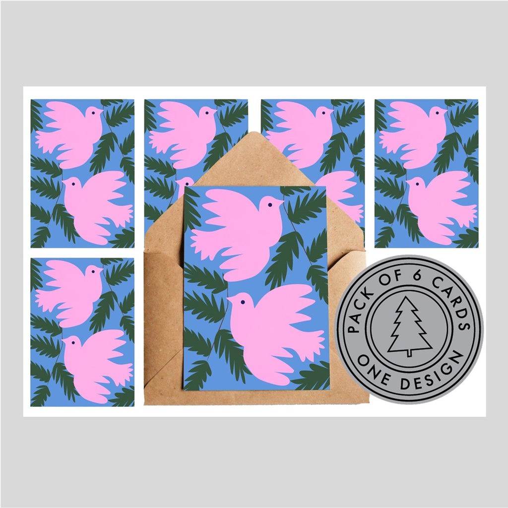Lottie Hall Pack of Six Christmas Cards - Pink Doves