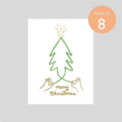 Ashkahn Pack of Eight Christmas Cards - Merry Tree