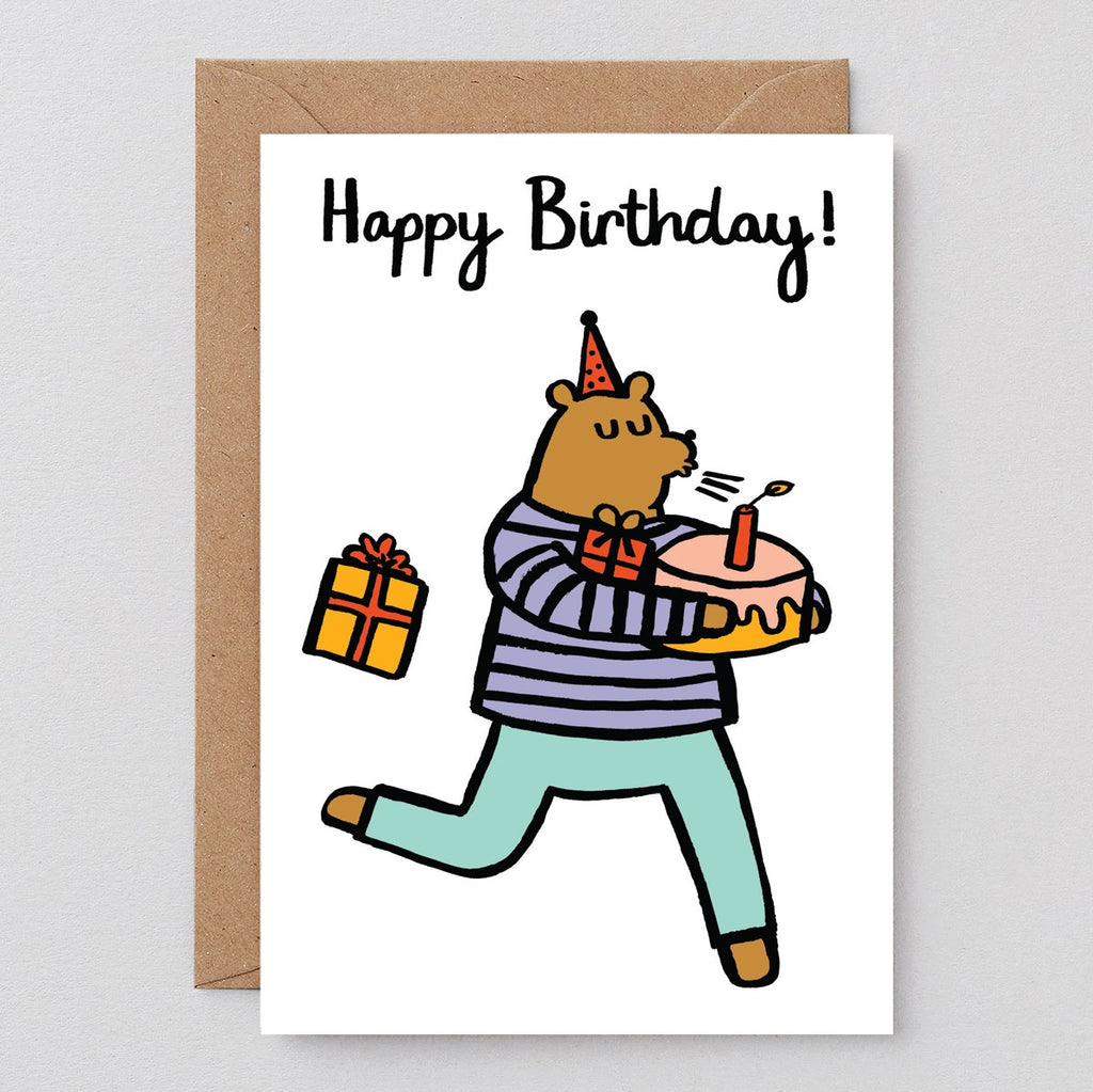 Wrap Bear With Cake Card