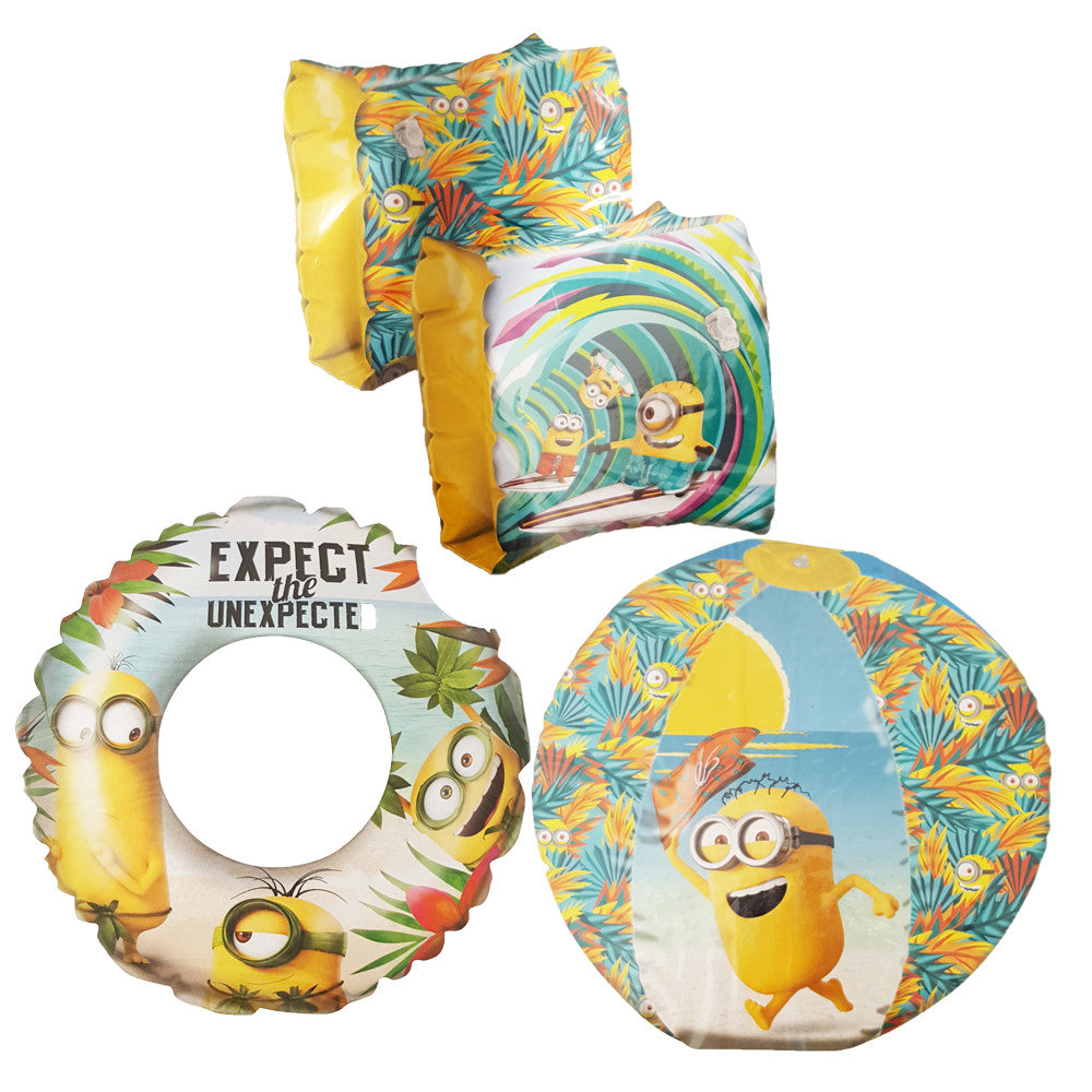 Despicable Me Minions Swim Ring, Armband & Beach Ball Holiday Set