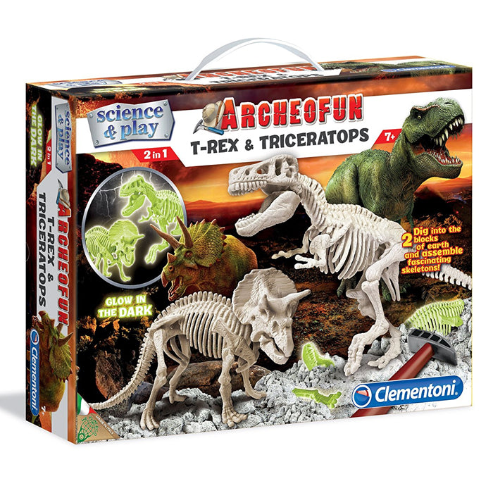 Clementoni Archeofun T-Rex & Triceratops Glow In The Dark Scientific Kit