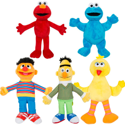 Official Sesame Street 25cm Soft Plush Set - Big Bird, Cookie Monster, Elmo, Burt & Ernie