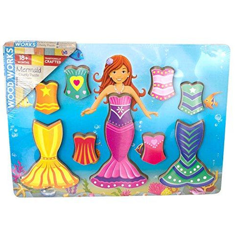 Wood Works 9 Piece Dress Up Mermaid Chunky Wooden Puzzle