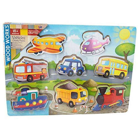 Wood Works 8 Piece 3D Vehicles Chunky Wooden Puzzle