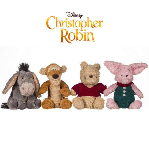 Disney Christopher Robin 18cm Soft Toy Collection Eeyore, Tigger, Pooh and Piglet (4 Pieces)