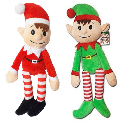 Elves Made Approved By Elf Christmas Xmas 31cm Red& Green Elf Soft Plush Set