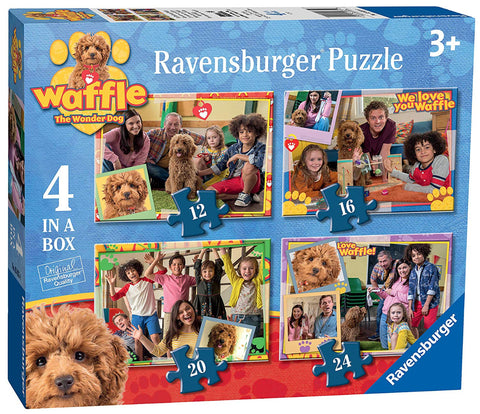 Ravensburger 3035 Waffle The Wonder Dog 4 in a Box (12, 16, 20, 24pc) Jigsaw Puzzles