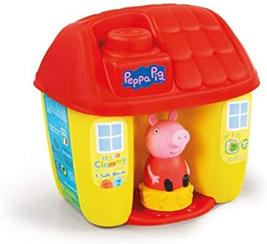 Peppa Pig bucket shaped like a little house with 6 Clemmy blocks