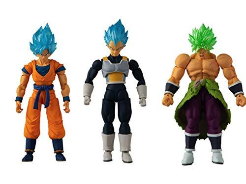 BANDAI 85819 Dragon Ball-12cm Evolve Figure Triple Pack Broly, Vegeta and Super Saiyan Goku