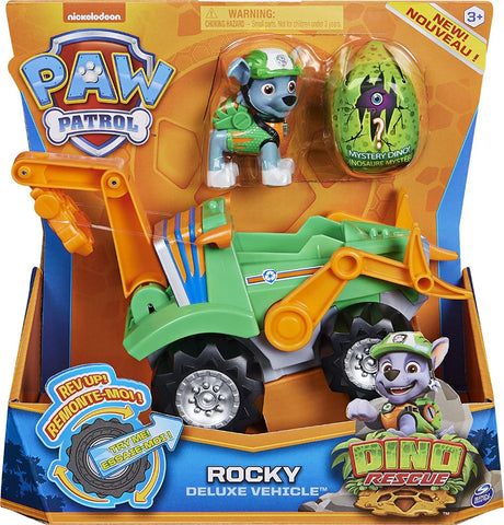 PAW Patrol 6059525 - Dino Rescue Rockys Deluxe Rev Up Vehicle with Mystery Dinosaur Figure