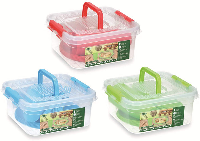 Plastic Picnic Set 31 Pieces with Storage Tub
