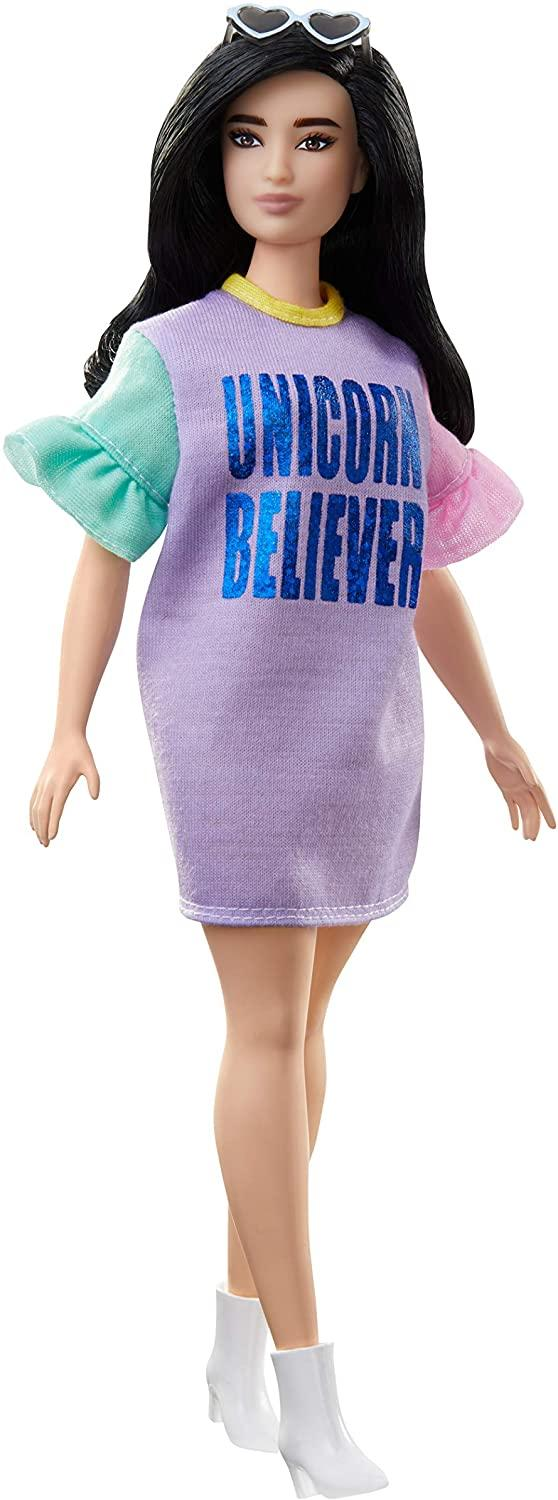 Barbie Fashionistas Doll with Long Brunette Hair Wearing Unicorn Believer Dress and Accessories, for 3 to 8 Year Olds