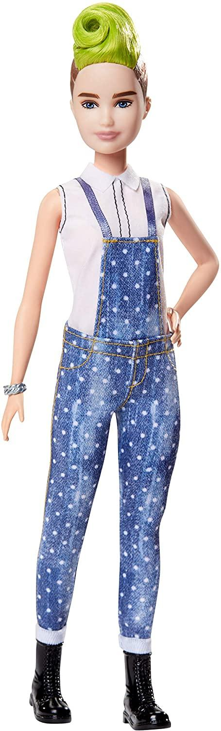 Barbie Fashionistas Doll with Green Striped Mohawk Wearing Denim Overalls, Top and Accessories, for 3 to 8 Year Olds