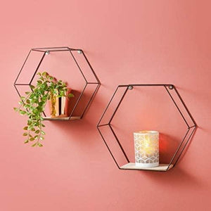 Tromso Metal Hexagon Shelf Floating Shelves Set Of 2 Black