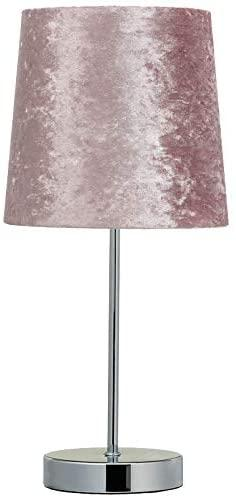 Crushed Velvet Table Lamp Bedside Table lamp Shade - PINK