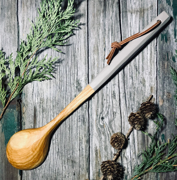 Cherry Wood Cooking Spoon with Painted Handle OP263