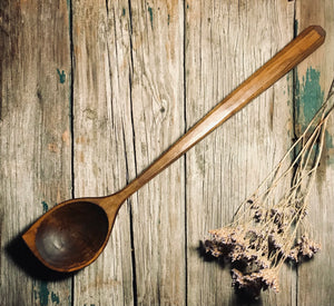 Large Ebonised Cherry Wood Pot Scraping Spoon OP288