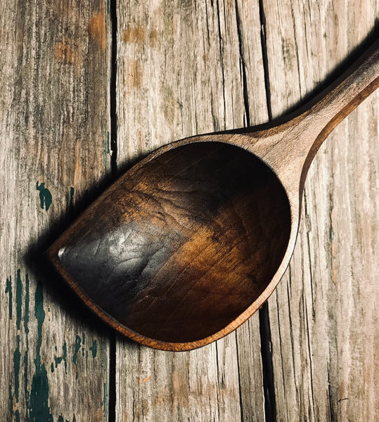 Large Ebonised Cherry Wood Pot Scraping Spoon OP286