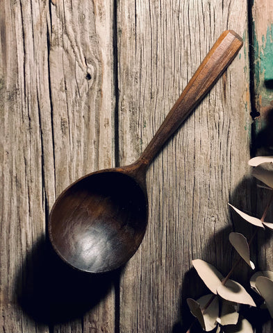 Ebonised Traditional Welsh Cawl Spoon OP308