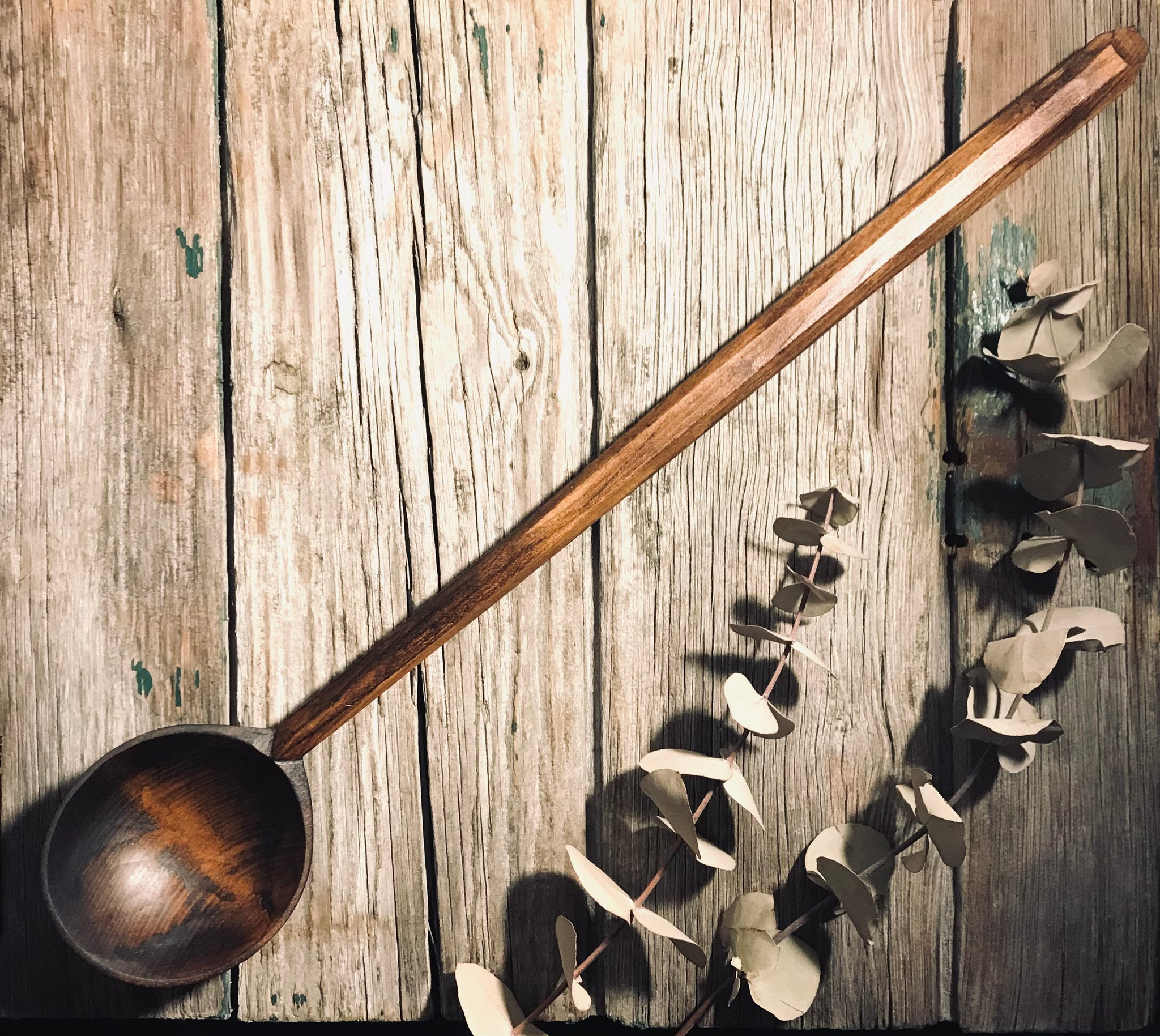 Ebonised Cherry Wood, Long Handled Cooking Spoon OP290