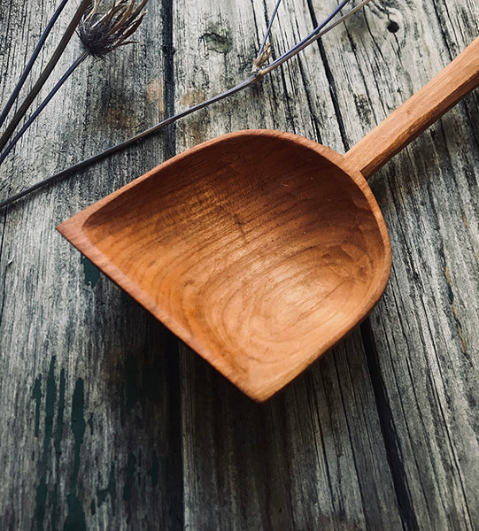 Large Cherry Wood Asymmetrical Cooking Paddle OP203