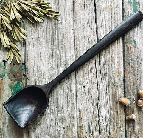 Large Ebonised Cherry Flat Top Cooking Spoon OP233