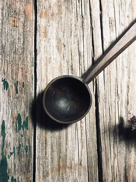 Ebonised Cherry Wood Jar Spoon OP280