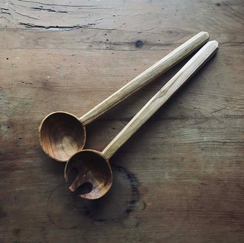 Pair of Cherry Wood Salad Servers OP136