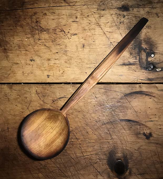 Large, Scorched, Round Bowled Cooking Spoon OP96