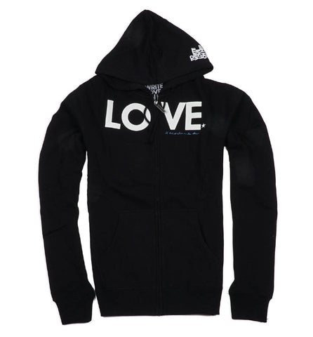 Black LOVE Applique Zip Hoodie