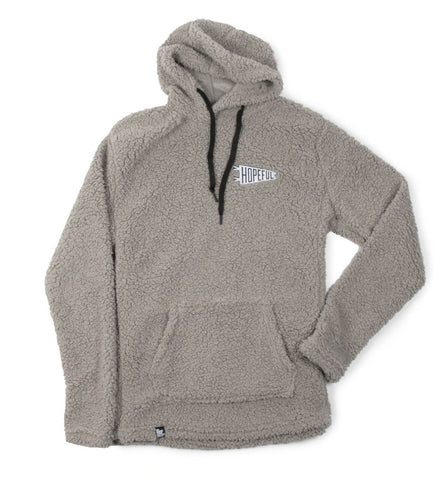 Hopeful Embroidered Sherpa Pullover Hoodie