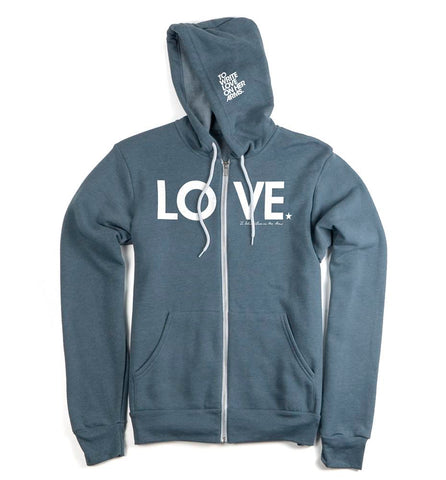 LOVE Zip Hoodie (Heather Slate)