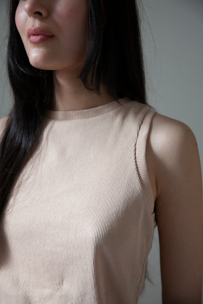 Cotton Rib Knit Tank - Powder