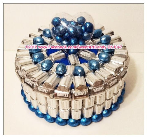 CK1047 SILVER AND BLUE HERSHEYS CAKE