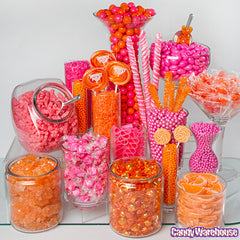 ORANGE AND PINK CANDY BUFFET