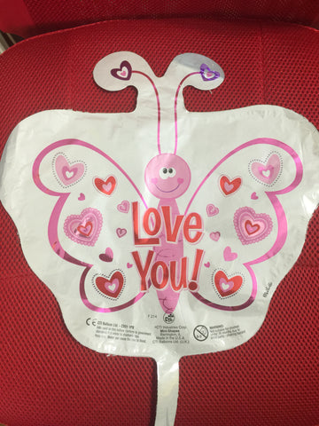 WHITE & PINK BUTTERFLY LOVE YOU BALLOON