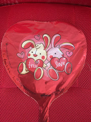 TRUE LOVE BUNNIES ON RED HEART BALLOON