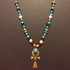 TURQUOISE AND PEARL ANKH