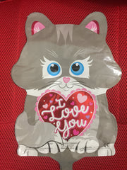 GRAY KITTY I LOVE YOU BALLOON