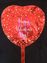 SMALL BLACK & WHITE HEARTS ON RED HAPPY VALENTINES DAY LOVE HEART BALLOON