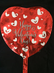 RED and WHITE HEARTS ON RED HAPPY VALENTINES DAY HEART BALLOON