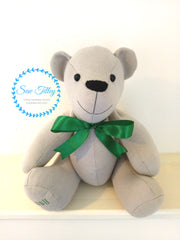 Handmade memory keepsake bear by sew Tilley.