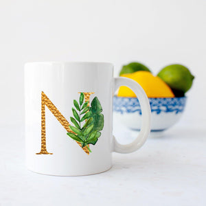 Gold Tropical Botanical letter mug